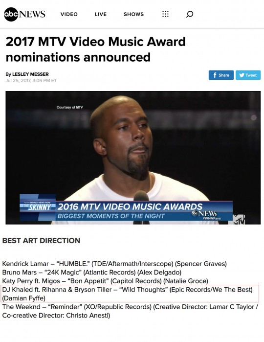 7.25.17 – ABC News – 2017 MTV Video Music Award Nominations Announced