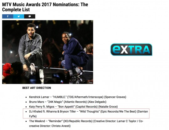 7.25.17 – Extra – MTV Music Awards 2017 Nominations: The Complete List