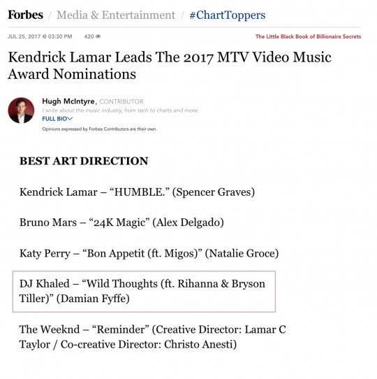 7.25.17 – Forbes – Kendrick Lamar Leads The 2017 MTV Video Music Award Nominations
