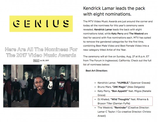 7.25.17 – GENIUS – Here Are All The Nominees for the 2017 Video Music Awards