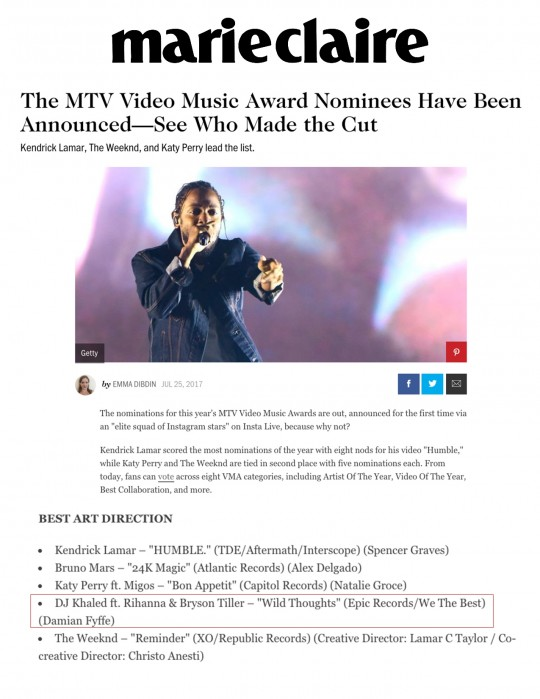 7.25.17 – Marie Claire – The MTV Video Music Award Nominees Have Been Announced – See Who Made the Cut