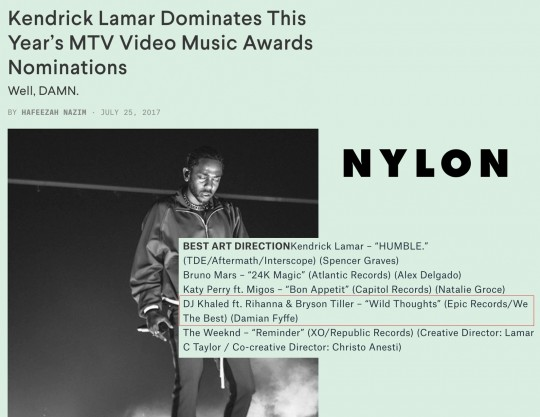 7.25.17 – NYLON – Kendrick Lamar Dominates This Year's MTV Video Music Awards Nominations