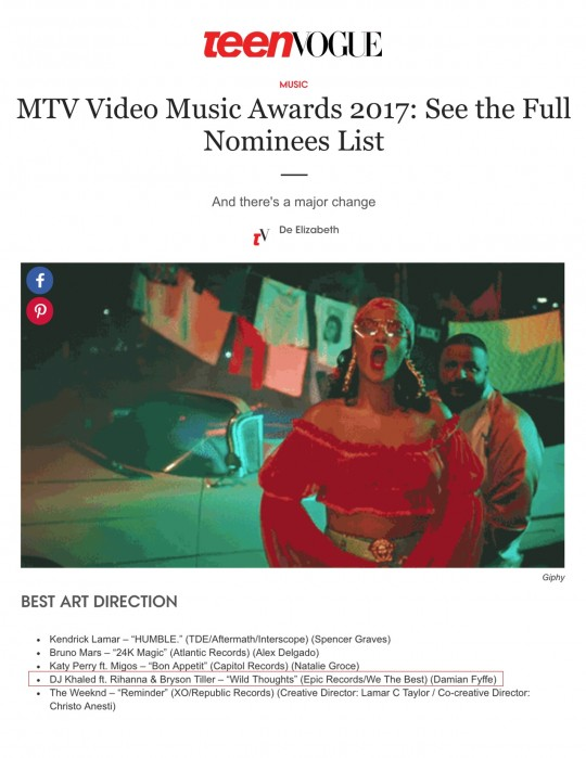 7.25.17 – Teen Vogue – MTV Video Music Awards 2017: See the Full Nominees List