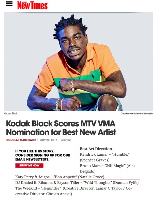 7.25.17 – Miami New Times – Kodak Black Scores MTV VMA Nomination for Best New Artist